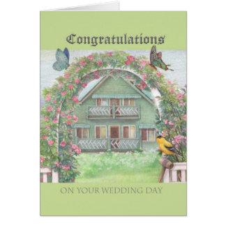 Cartão Jardim & casa ilustrados da casa de campo dos