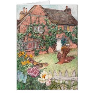 Cartão Jardim ilustrado da casa de campo com pássaros