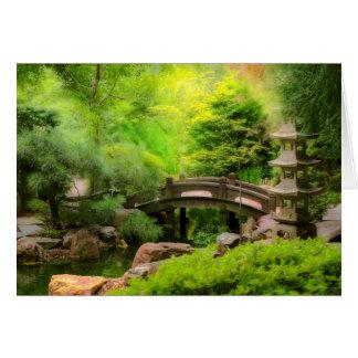 Cartão Jardim japonês - água sob a ponte