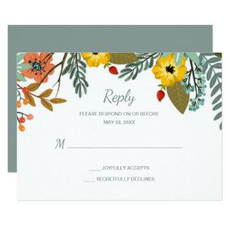 Cartão Jardim misturado RSVP Wedding floral das famílias