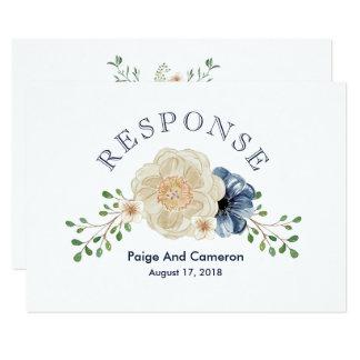 Cartão Jardim RSVP Wedding floral do azul & do bege de