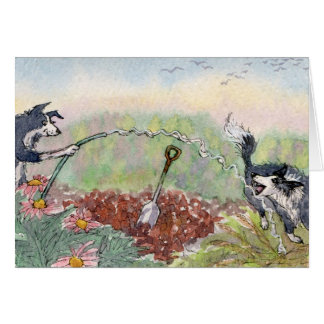 Cartão Jardinar é divertimento! Cães, mangueiras,