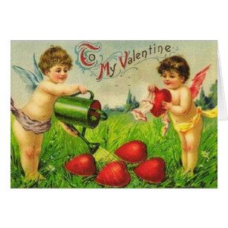 Cartão Jardineiro do Cupido dos namorados do vintage