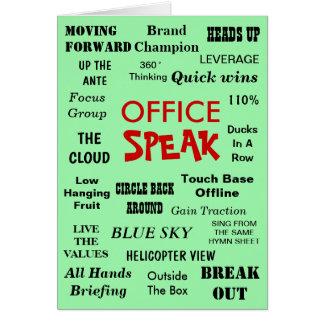 Cartão Jargão engraçado da gestão do escritório - sair do