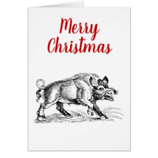 Cartão Javali do vintage que tira o Xmas do Natal de BW