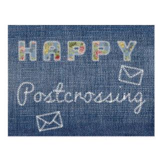 """Cartão """"jeans felizes de Postcrossing """" Cartão Postal"""