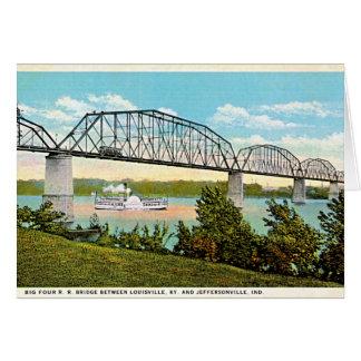 Cartão Jeffersonville, ponte de Indiana sobre Ohio 1920