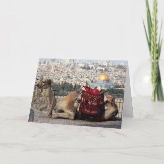 Cartão Jerusalem, world of colos, a camel
