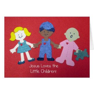 Cartão Jesus ama as crianças pequenas!