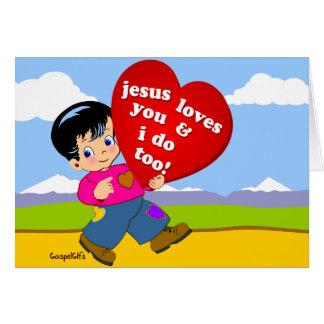 Cartão Jesus ama-o & eu faço demasiado!