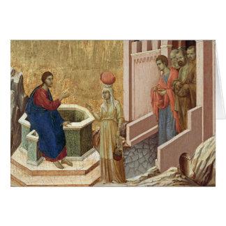 Cartão Jesus com a mulher no poço