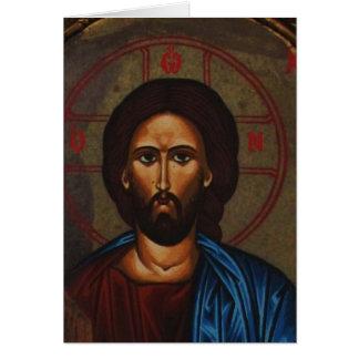 Cartão JESUS CRISTO ortodoxo grego bizantino do ícone
