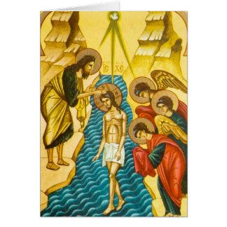 Cartão Jesus Cristo que toma o ícone do russo do baptismo