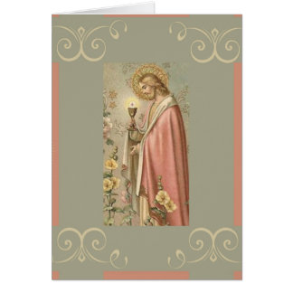 Cartão Jesus que guardara o comunhão santamente do cálice