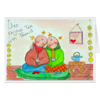 Cartão Jizo aprecia o chá com amigo