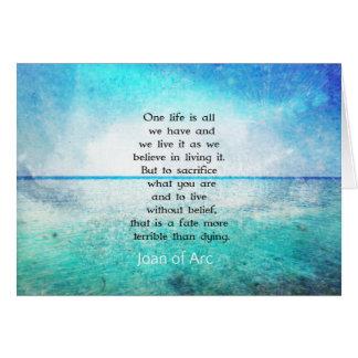 Cartão Joana de citações inspiradas do arco