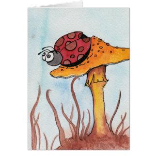 Cartão Joaninha e cogumelo