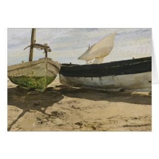 Cartão Joaquin Sorolla - barcos de pesca na praia
