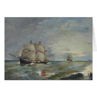Cartão Joaquin Sorolla - veleiros no mar
