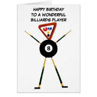 Cartão Jogador de bilhar do feliz aniversario