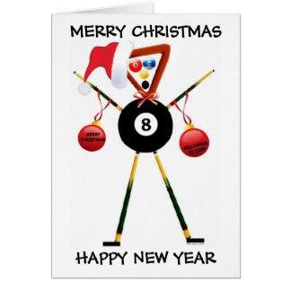 Cartão Jogador de bilhar do Feliz Natal