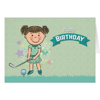 Cartão Jogador de golfe bonito da menina aproximadamente
