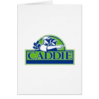 Cartão Jogador de golfe profissional e Caddie retros