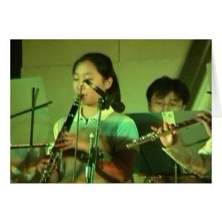 Cartão Jogadores de flauta chineses; Ano novo chinês