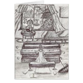 Cartão Jogando o piano em um dia chuvoso