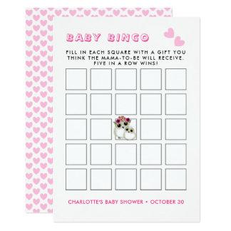 Cartão Jogo bonito do Bingo do chá do bebé das corujas do