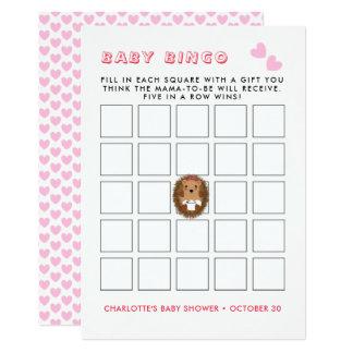 Cartão Jogo bonito do Bingo do chá do bebé do ouriço da