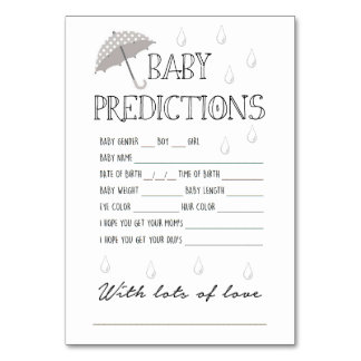 Cartão Jogo das previsões do bebê para o chá de fraldas