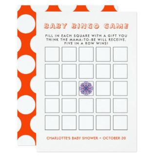 Cartão Jogo rústico bonito do Bingo do chá de fraldas do