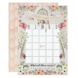 Cartão Jogo rústico do Bingo do chá de fraldas de Boho