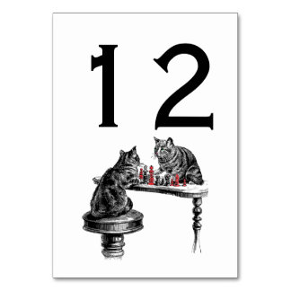 Cartão Jogos de mesa dois gatos que jogam o vermelho do