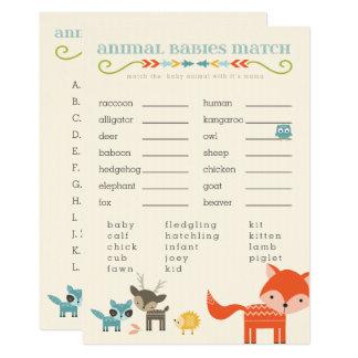 Cartão Jogos do chá de fraldas dos animais da floresta -