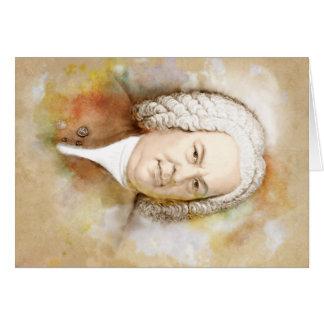 Cartão Johann Sebastian Bach Portrait em beige