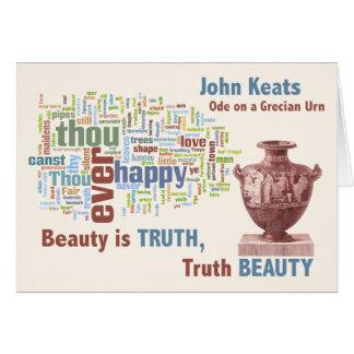 Cartão John Keats - beleza é a verdade - urna Grecian -