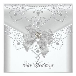 Cartão Jóia de prata branca do arco da folha de prova do