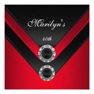 Cartão Jóia vermelha preta do diamante da festa de