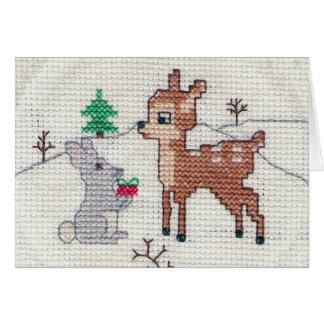 Cartão Jovem corça da neve e ponto transversal do coelho