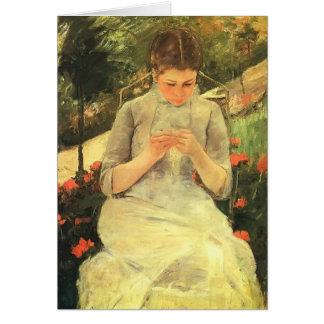 Cartão Jovem mulher de Mary Cassatt- que Sewing no jardim