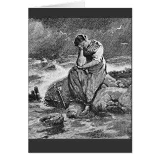 Cartão Jovem mulher deprimida triste dolorosa