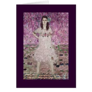 Cartão Jovem mulher e flores cor-de-rosa