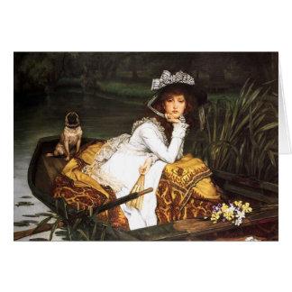 Cartão Jovem senhora de James Tissot em um barco