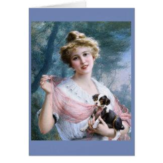Cartão Jovem senhora & filhote de cachorro pernicioso,
