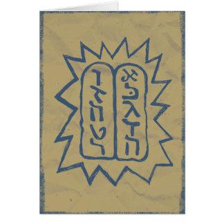 Cartão Judaica: Mandamentos afligidos de Tem no azul