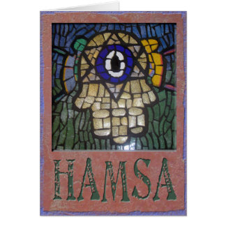 Cartão Judaica: Ouro Hamsa w/Star, olho mau & Talit