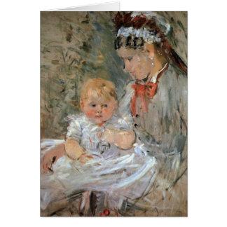 Cartão Julie com sua enfermeira por Berthe Morisot