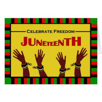 Cartão Juneteenth, comemora a liberdade, grilhões